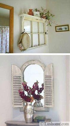 Creative ideas to reuse and recycle old wood windows and doors can save lots of money on home decorating and help add fabulous artworks to modern interior design Country Decor, Rustic Decor, Farmhouse Decor, Country Homes, Vintage Farmhouse, Old Wood Windows, Antique Windows, Vintage Windows, Old Window Projects