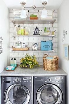 Just because you have a small laundry room doesn't mean it can't be packed with pretty storage and tons of organization. Check out this tiny apartment-size laundry room and all the stylish flea market storage bins and cute signs to make doing laundry a l Small Space Laundry Room Storage, Laundry Nook, Small Laundry Rooms, Laundry Closet, Doing Laundry, Laundry Room Organization, Laundry Room Design, Laundry In Bathroom, Organization Ideas