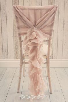 Dusky pink ruffle chair sash Unique wedding décor