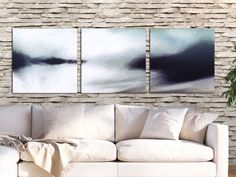 A quiet and powerful view for your living space! Modern gray abstract print by FraBor Art.
