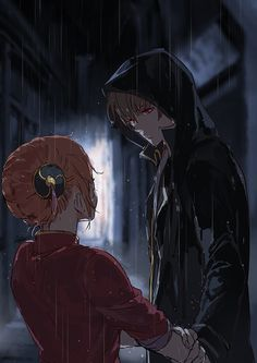 Kagura and Okita Sougo #rain #holdinghands #hoodie