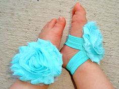 Aqua Blue Baby Barefoot Sandals - Baby Girl Accessories - Piggy Petals - Toe Blooms - Flower Sandals - Baby Shower Gift - Baby Girl Shoe on Etsy, $5.95