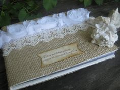 burlap and lace flower girl basket | burlap and lace wedding guest book and pen set rustic country vintage ...