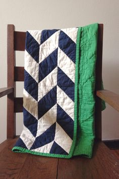 Handmade Herringbone Quilt, Baby Quilt, Gender Neutral, boy quilt, navy blue, all natural, muslin and cotton by averyandmae on Etsy https://www.etsy.com/listing/227217897/handmade-herringbone-quilt-baby-quilt