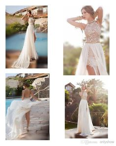 2015 Hot Julie Vino Summer Beach High Waist Empire Wedding Dresses A line Chiffon Side Slit Lace Halter Backless Court Train Bridal Gowns