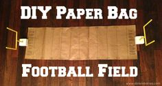 paper bag football field for origami football game or fun centerpiece for party {Dolen Diaries}