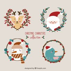 Cute Christmas Characters Collection I Free Vector Christmas Love, Christmas Design, Christmas Photos, Vintage Christmas, Christmas Crafts, Xmas, Christmas Ornaments, Vector Christmas, Illustration Noel