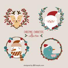 Colección de personajes lindos de navidad Vector Gratis