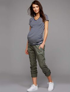 29a3bd97b650b A Pea in the Pod Under Belly Canvas Jogger Maternity Pants