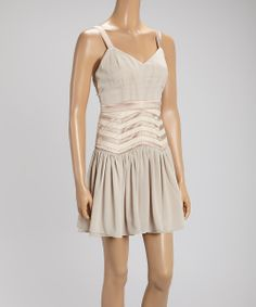 Taupe Zigzag Drop-Waist Dress | Daily deals for moms, babies and kids