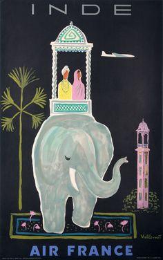 Vintage poster Inde by Villemot, Bernard in 1956
