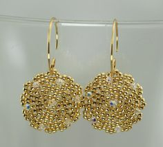 Beaded Earrings Gold Coin Disc Sparkling Crystals  full circle closed hoops - Createdbycarla - Etsy