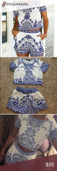 China Print / Aztec Print 2 Piece Romper BRAND NEW! 2 piece romper or set! Summer set or perfect for the day on the beach! Oasap Dresses