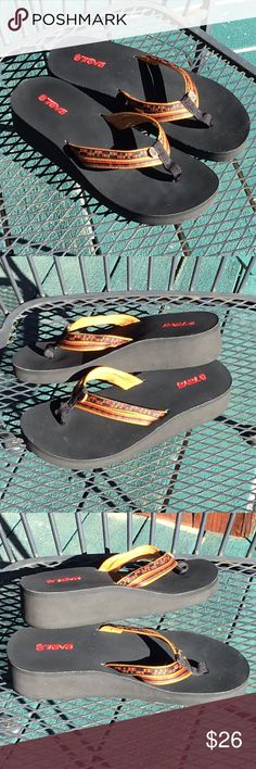 5806bdea0 Teva Flip Flop Sandals In very good pre-owned condition. Cute wedge heel  flip
