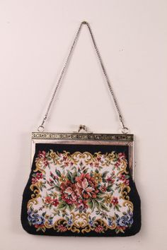 Vintage - 60s - Floral - Black - Embroidered Tapestry - Clasp - Chain Strap - Cocktail - Handbag - Purse