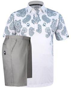 bb99e620 July Outfit - Hustler ProCool Men's Polo & Golf Shorts (White/Grey)
