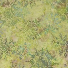 Hoffman Fabrics Bali Batik Celadon Green Snowflakes