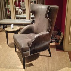 The Deco Chair from Hancock and Moore is a sleek stylish chair that combines the classic wing chair and Klismos chair designs. The tone-tone leather helps define the lines of this handsome chair.