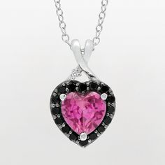Sterling Silver Lab-Created Pink Sapphire, Black Spinel and Diamond Accent Heart Pendant, Women's, Size: 18""