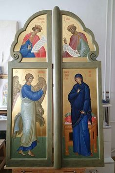 Byzantine Icons, Byzantine Art, Royal Doors, Triptych, Christian Art, Virgin Mary, Fresco, Saints, Drawings