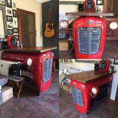 Car Part Furniture, Automotive Furniture, Automotive Decor, Funky Furniture, Tractor Bar, Tractor Decor, Car Part Art, Car Parts Decor, Handyman Projects