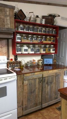 Country Kitchen - rustic cabinets, and the shelf with the clear jars/canisters... - http://centophobe.com/country-kitchen-rustic-cabinets-and-the-shelf-with-the-clear-jarscanisters/ -:
