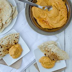 Sweet Potato Hummus with Flatbread HealthyAperture.com
