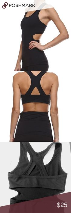 NWT Mono B Activewear Top w Cutout in Back ATHLETIC SPORTS TANK TOP FEATURES A CUTOUT WITH RACERBACK Black Color/ Small Size *This product is only tank top. 80%20 Other