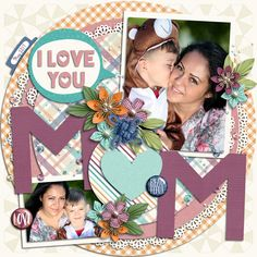 Titled 13 Templates by Akizo Designs for Digital Scrapbooking Layout Page, for Mother's day