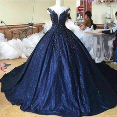 Lace Pearl Beaded V Neck Off Shoulder Navy Blue Ball Gowns