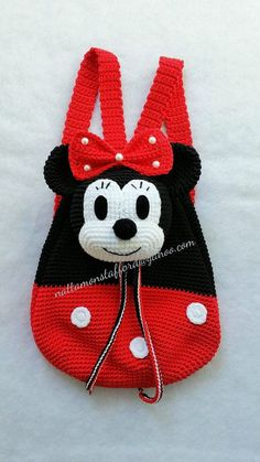 Nylon Minnie Mouse backpack, Handmade crochet backpack birthday gift, christmas gift,perfect to every girls. (Made to order) Minnie Mouse backpack Handmade crochet backpack by Crochet Mickey Mouse, Crochet Disney, Crochet Purses, Crochet Handbags, Baby Knitting Patterns, Crochet Patterns, Crochet Ideas, Minnie Mouse Backpack, Mochila Crochet
