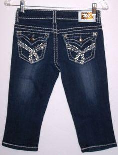 Miss Chic Shorts 1 Denim Bermuda Rhinestone Bling Flap Pockets Thick Stitched  #MissChic #Denim
