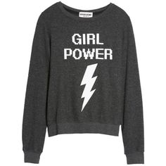 Women's Dream Scene Girl Power Sweatshirt ($64) ❤ liked on Polyvore featuring tops, hoodies, sweatshirts, sweaters, shirts, sweatshirt, black, graphic tops, pullover top and graphic shirts
