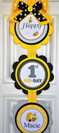This adorable door sign is perfect to welcome your guests. Door hanger is double layered with high quality cardstocks  Listing is for one 3-piece sign. Each scalloped circle measures 6 and are connected with coordinating ribbon. Can be done in any colors and with custom wording. ♥ Visit my store for coordinating items and more party fun. (See individual listings)  **Please read the shop announcement on the front page for current availability prior to placing your order.  Thanks for stopping…