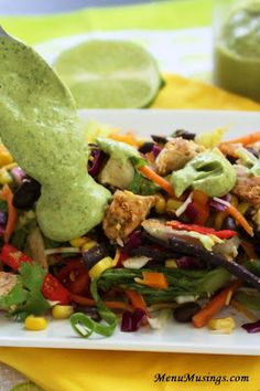 Grilled Chicken Southwestern Chopped Salad with Creamy Cilantro Dressing. No way this salad could be called boring! It's a rainbow on your plate and a party in your mouth! Step-by-step photo directions