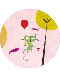 """Carte ronde 13,8cm Nicolas Gouny """"Le chat et le ballon rouge"""""""