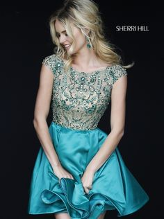 Sherri Hill 32273 Turquoise Beaded V-Back Cap Sleeves Party Dress 2015 Turquoise Homecoming Dresses, Sherri Hill Homecoming Dresses, Prom Dresses 2016, Cheap Dresses, Formal Dresses, Turquoise Dress, Dress Images, Blond, Beautiful Dresses