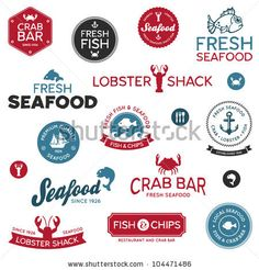 set of vintage and modern seafood logo restaurant labels by Mike McDonald