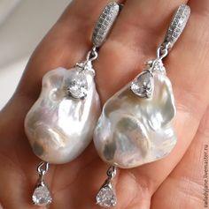 Купить ПРОСТО ШИК! II Серебряные серьги крупный!!!барочный жемчуг - белый, серебряные украшения