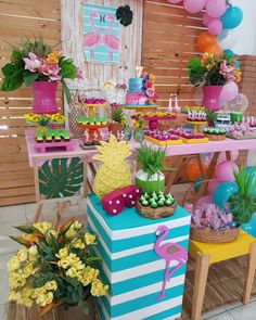 Jungle Theme Birthday, Flamingo Birthday, Luau Birthday, Flamingo Party, Birthday Parties, Ibiza Party, Luau Party, Zeina, Diy Birthday Decorations