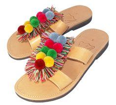 ON SALE Greek sandals, leather sandals, multicoloured fringe, pom pom, colourful pom pom, handmade sandals, boho sandals, pom pom sandals, s - £64.80 GBP