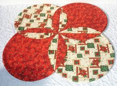 Christmas Table Runner Quilt - Xmas Table Topper Centerpiece - Poinsettia, Stars - Red, Green, Gold