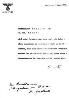 Hitlers order to Bouhler authorizing the T4 program sept 1939