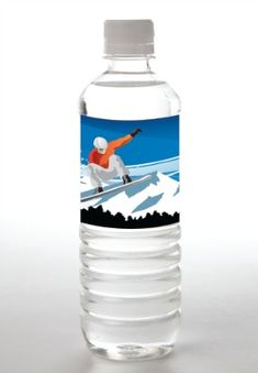 Water Bottle Label Snowboard Party Theme from Tailor Made Water - mazelmoments.com