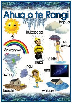 Ähua o te Rangi - Weather. Promote and encourage Te Reo Maori in your class or learning centre with this fabulous vocabulary poster. Hawaiian Tribal Tattoos, Samoan Tribal, Filipino Tribal, Chris Garver, Preschool Worksheets, Preschool Activities, Foo Dog, Maori Songs, Weather In New Zealand