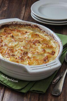 Four Cheese Garlic Scalloped Potatoes Recipe from bakedbyrachel.com