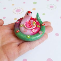 Handmade from Polymer Clay by The Clay Kiosk on Etsy. Polymer Clay Kawaii, Polymer Clay Animals, Fimo Clay, Polymer Clay Charms, Polymer Clay Projects, Polymer Clay Art, Ceramic Clay, Clay Crafts, Polymer Clay Sculptures