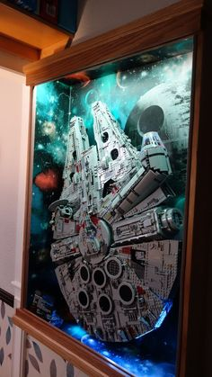 That looks awesome - Millennium Falcon - Lego Lego Display, Display Cases, Display Ideas, Star Wars Art, Lego Star Wars, Vitrine Lego, Legos, Lego Millenium Falcon, Lego Falcon