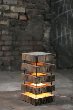 wooden lamp made from old cedar beam
