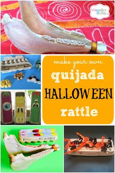 A quijada is a rattle that's made from a donkey's jawbone and the sound of the instrument is created by the teeth rattling in the sockets. Perfect for Halloween, right? And you can make your own with an egg carton! Christmas Holidays, Christmas Ideas, Christmas Decorations, School Projects, Diy Projects, Make Your Own, How To Make, Painted Pumpkins, Christmas Inspiration